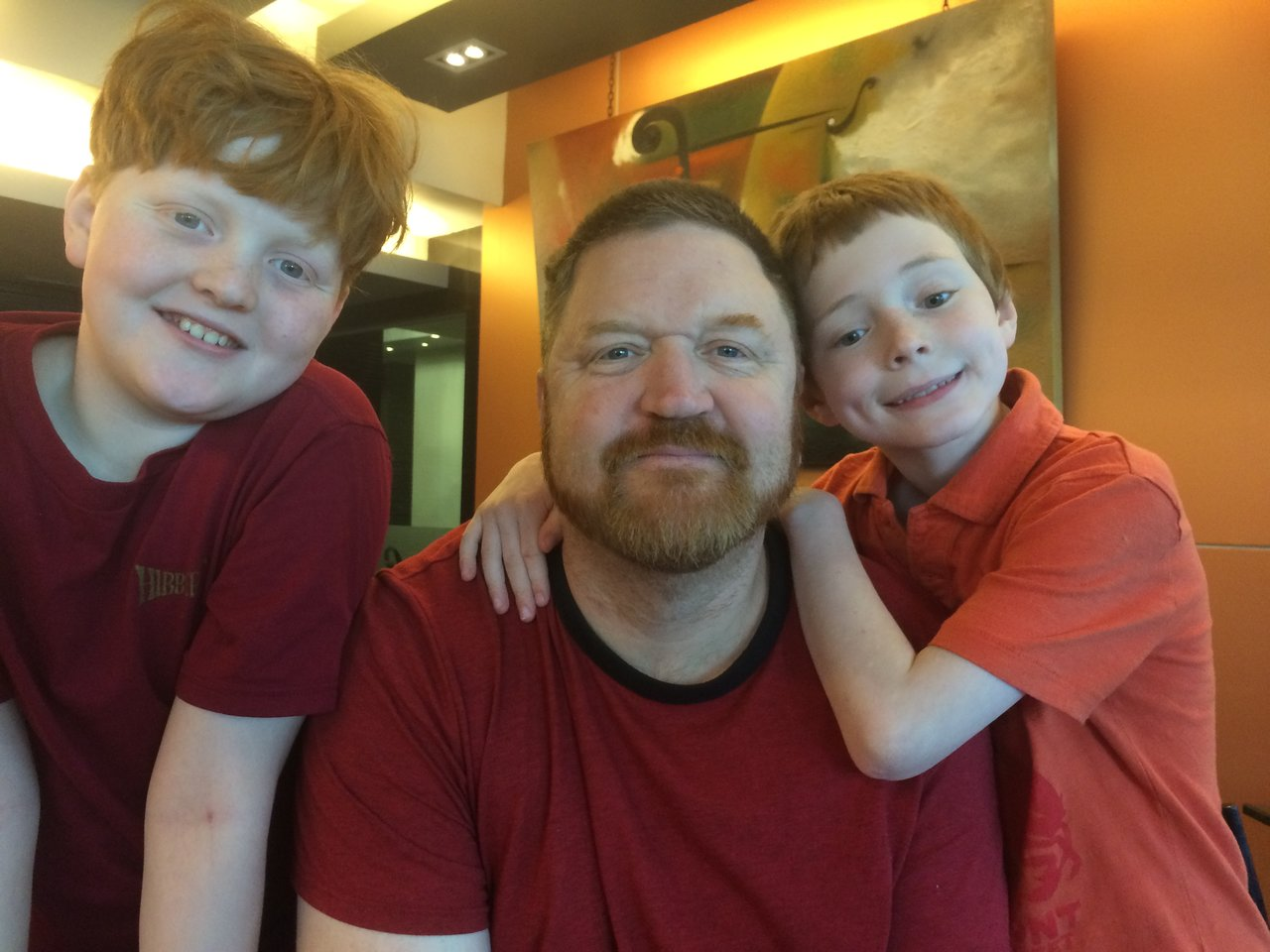 Daddy and his boys   Photo taken by Brook D