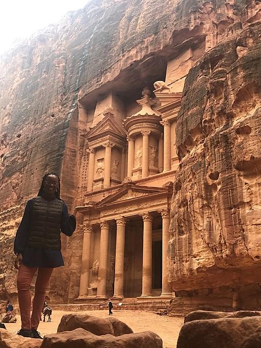 At the Treasury - Petra, Jordan | Photo taken by Tamara B