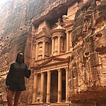 At the Treasury - Petra, Jordan | Photo taken by Tamara B