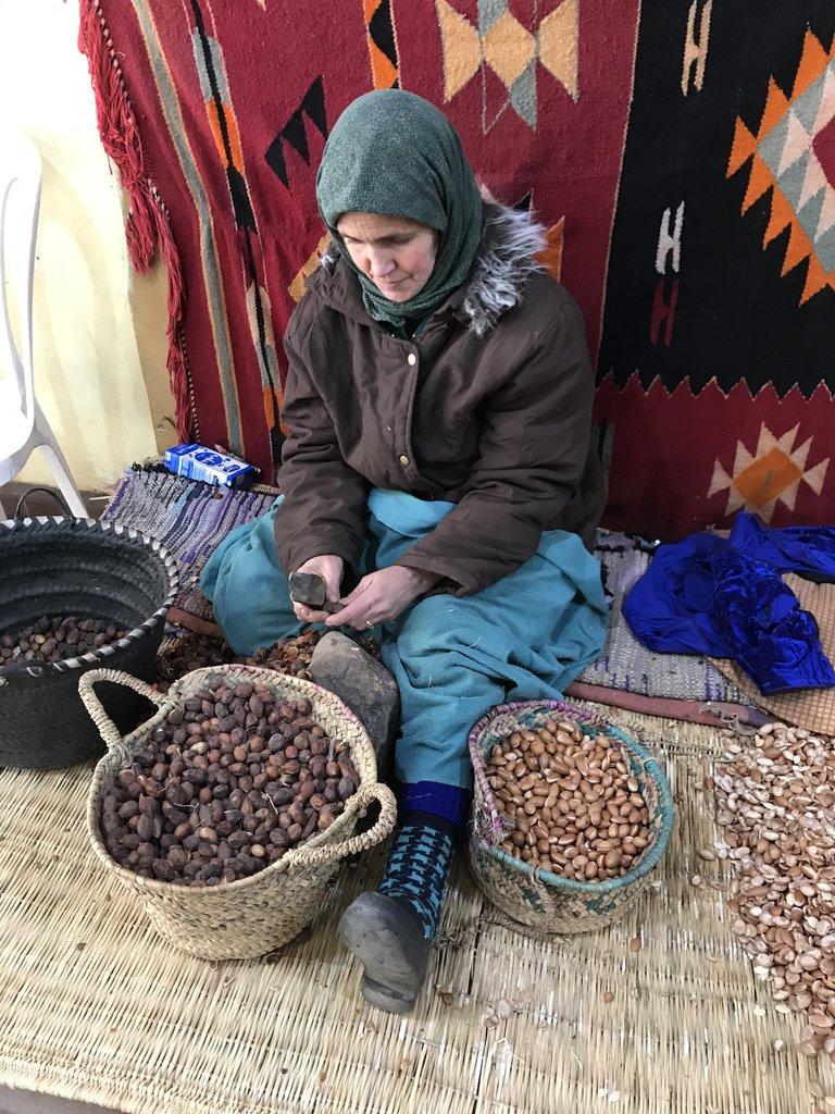 Processing Argan Nuts | Photo taken by Chris M
