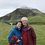 Susan and Dick - cliffs above Skogafoss | Photo taken by Elizabeth R