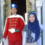 With the Guard of Muhammad V Mausoleum in Rabat | Photo taken by Alif Nadya Inniar R