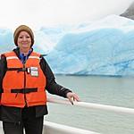 Kristin in front of Grey Glacier | Photo taken by Kristin M