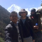 Louis, prakash, and krishna (guide and porter) in front of manaslu from the village of loh | Photo taken by Louis fiorello