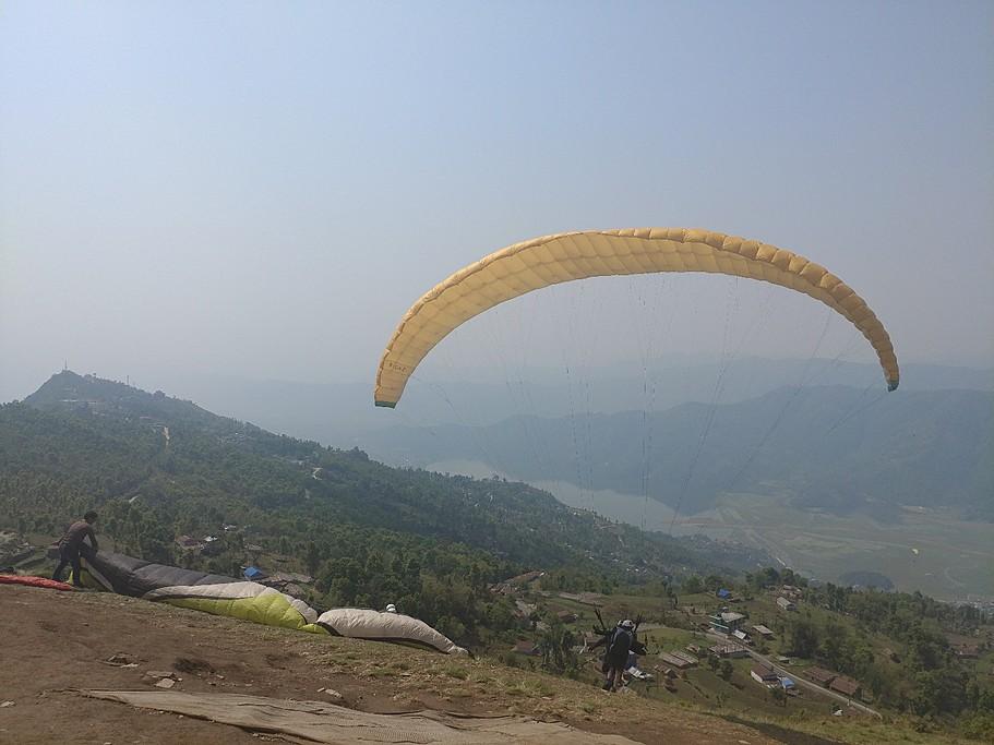 Paragliding in Pokhara | Photo taken by Long W