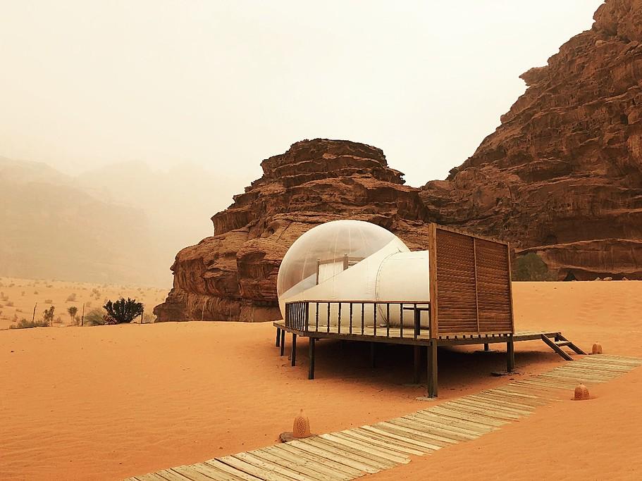 Bubble tent at Wadi Rum Night Luxury Camp | Photo taken by Jennifer K