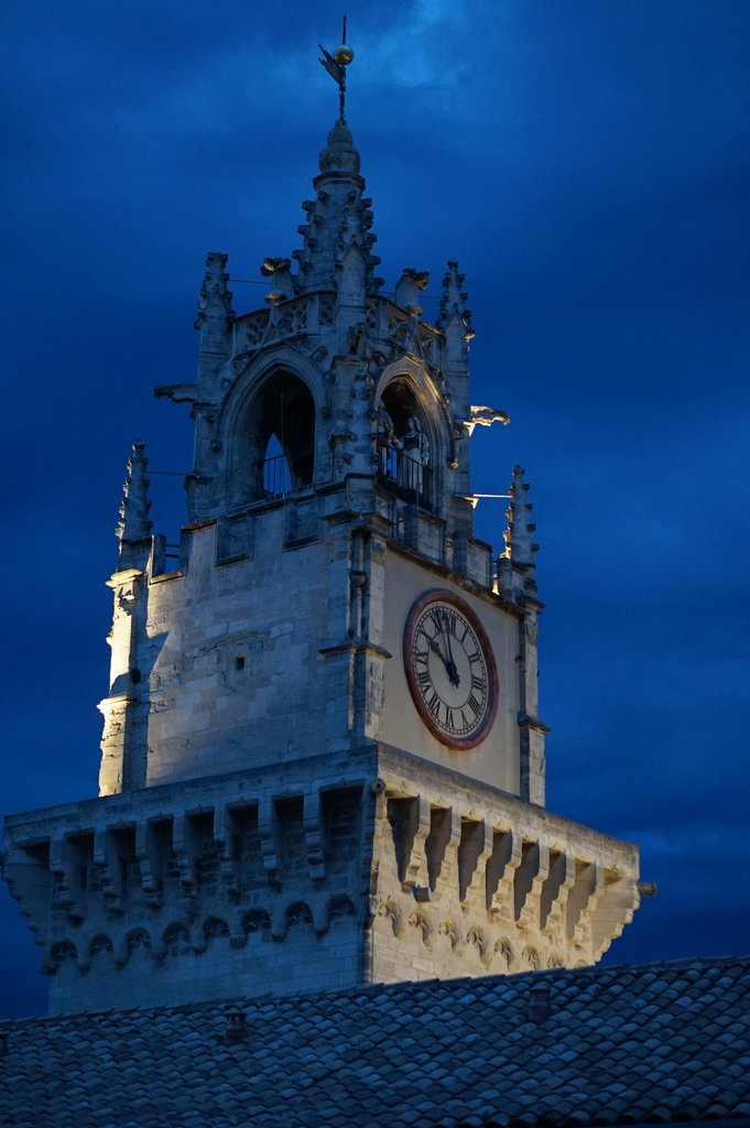 View of the clock tower in Avignon from our terrace.  | Photo taken by Richard L