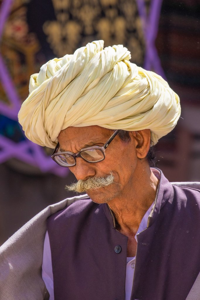 Large turbans and handlebar mustaches are typical of Rajasthani men. Pushkar. | Photo taken by Jean M