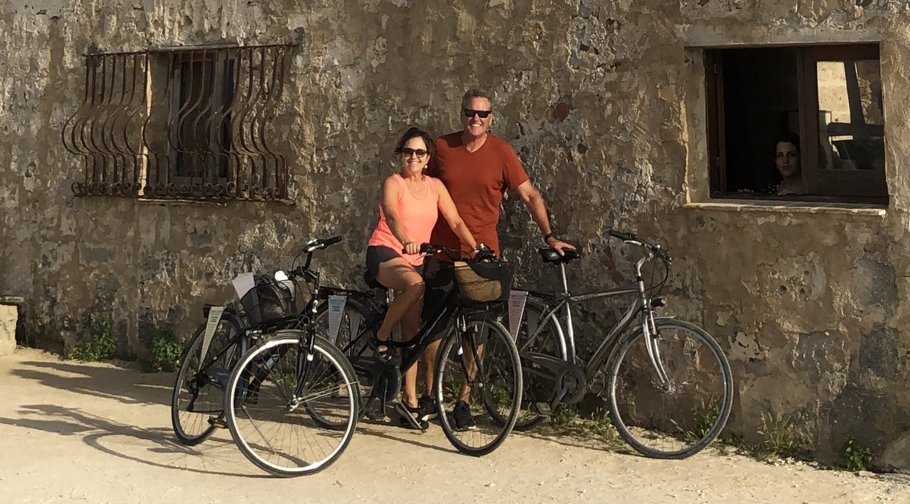 Cycling to the salt fields in Trapani | Photo taken by ingrid B