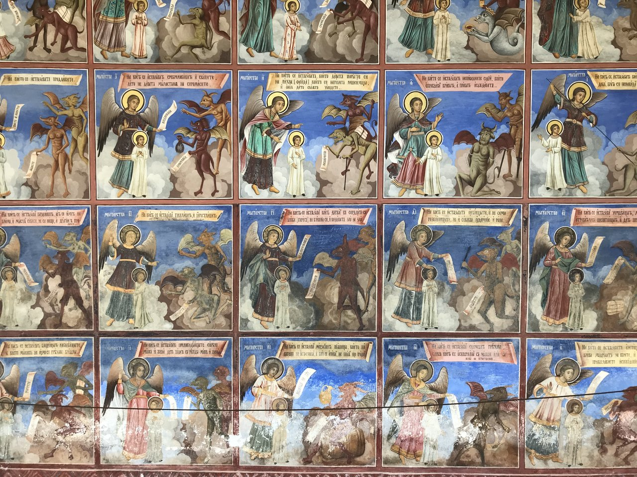 Holy paintings at Rila Monastery. | Photo taken by Alison C