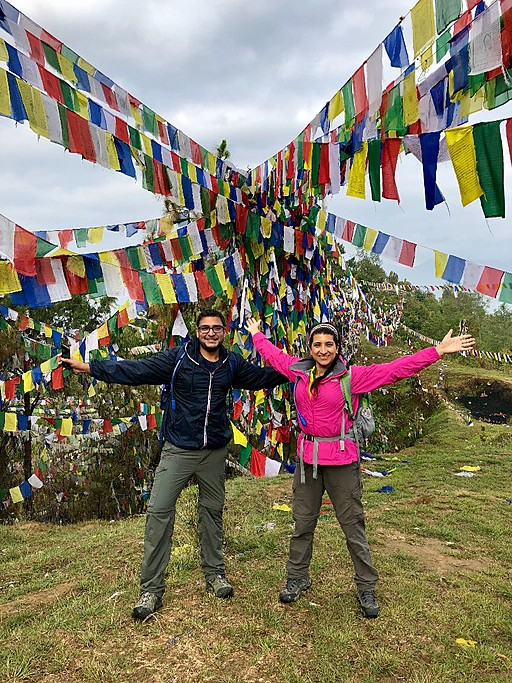 Day 4: trekking from Namobhuddha to Panauti.  So many colourful flags reminding you of the strong Bhuddist community.  | Photo taken by Vidushi G