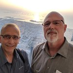 """We had sunset reservations to go to the 148th floor of the Burj Khalifa, the tallest building in the world, where we took a selfie (when there are two or more people, why isn't the photo an """"us-ie""""?), overlooking part of Dubai and the Persian Gulf - Burj Khalifa, Dubai, United Arab Emirates 