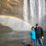 Perfect day for an amazing rainbow at Skogagoss Waterfall | Photo taken by Jodi G