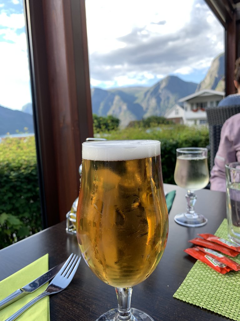 Pilsner with a view! Aurland | Photo taken by Michael W