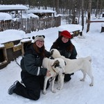 meeting the dogs before dog sledding | Photo taken by Cyndi P