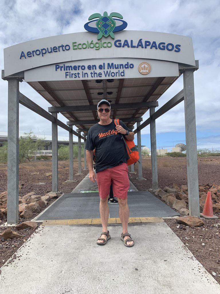 Bob arriving at the Galapagos Islands | Photo taken by Lynette V