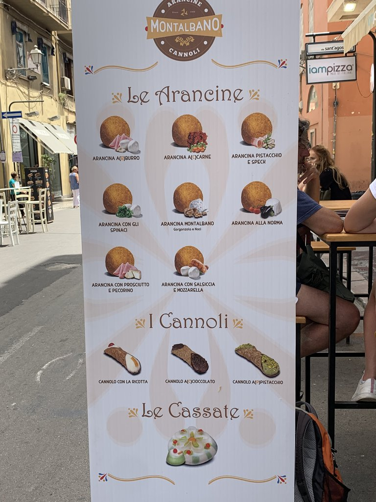 Menu of popular Sicilian food | Photo taken by ingrid B