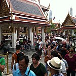 Bangkok. Main palace temple. Quite a crush. | Photo taken by Rodney S