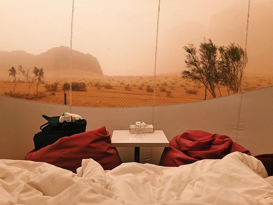 View from bed at Wadi Rum Night Luxury Camp | Photo taken by Jennifer K