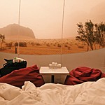 View from bed at Wadi Rum Night Luxury Camp | Photo taken by Jennifer K