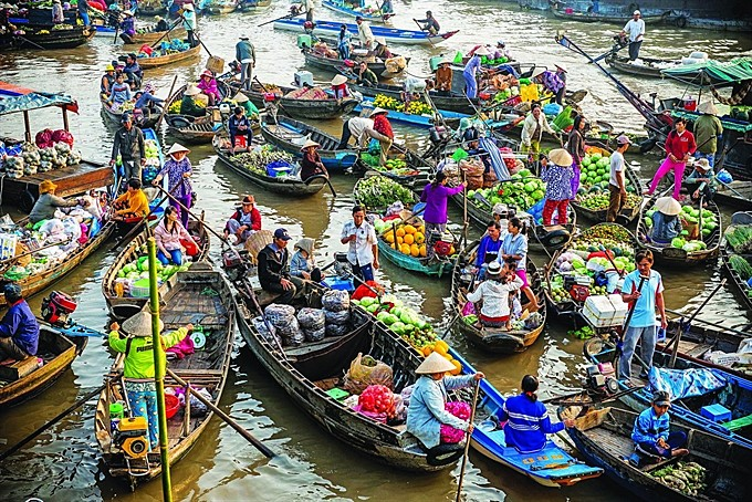 Browse the Cần Thơ river markets