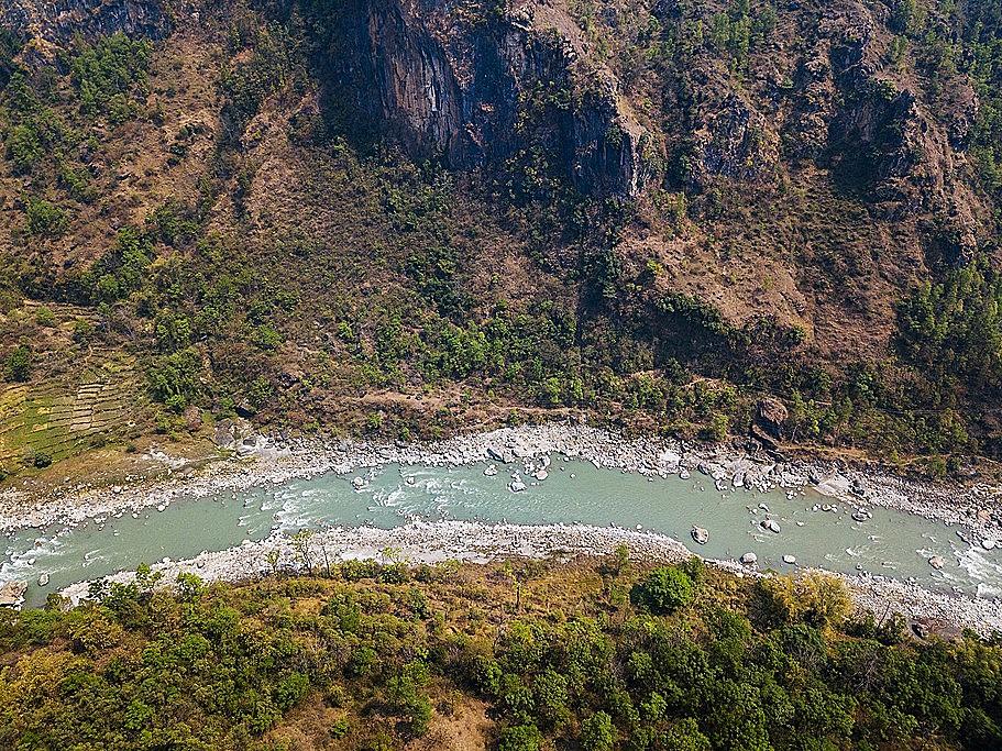 Aerial view of the Kali Gandaki River next to Tatopani