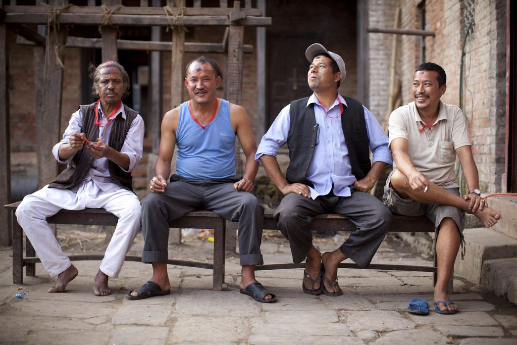 Locals posing for a photo in Patan