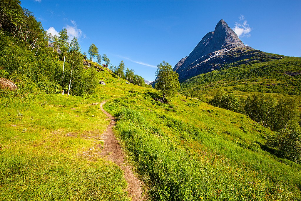 A hiking path in the Innerdalen valley