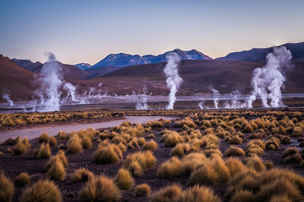 Geysers in the early morning light