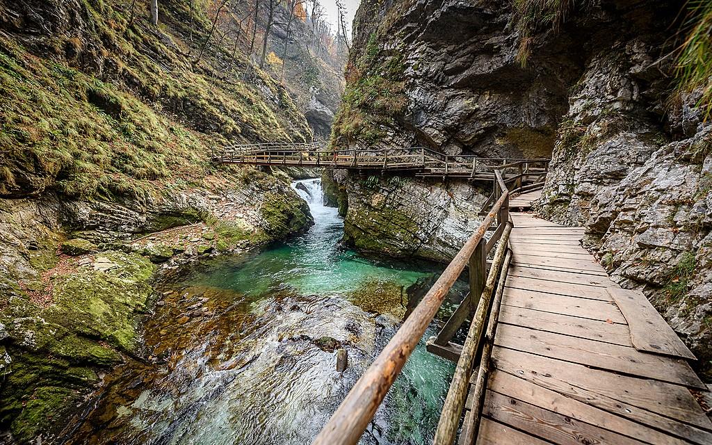 Venture through the Vintgar Gorge walkways