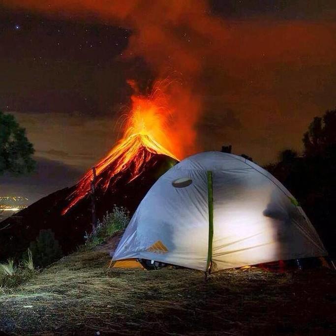 Volcan de Fuego eruption seen from campsite