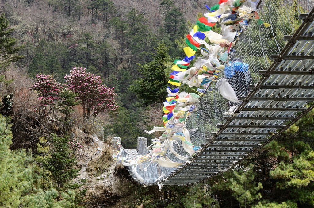 A suspension bridge on the way to Lukla