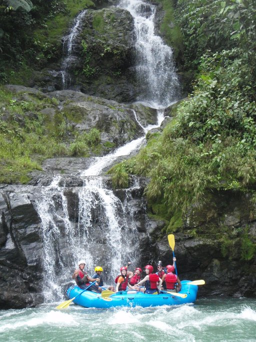 Rafting by waterfalls on the Pacuare