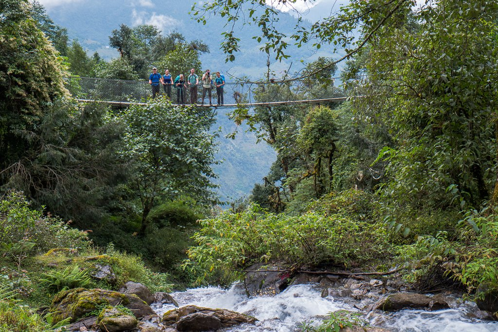Admiring the view from a suspension bridge