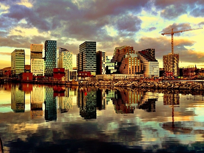 Oslo's modern skyline at sunset.