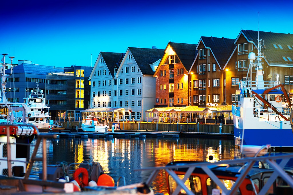 The picturesque harbor of Norway's northernmost city