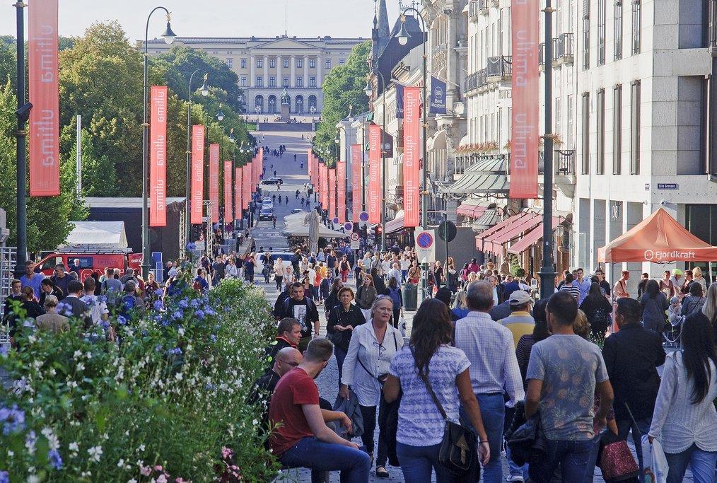 A pedestrian-friendly street in Oslo