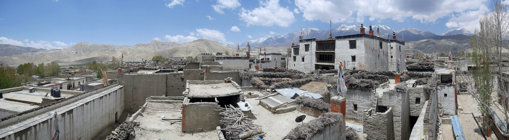 The Royal Palace of Lo Manthang and the roof tops of the walled city