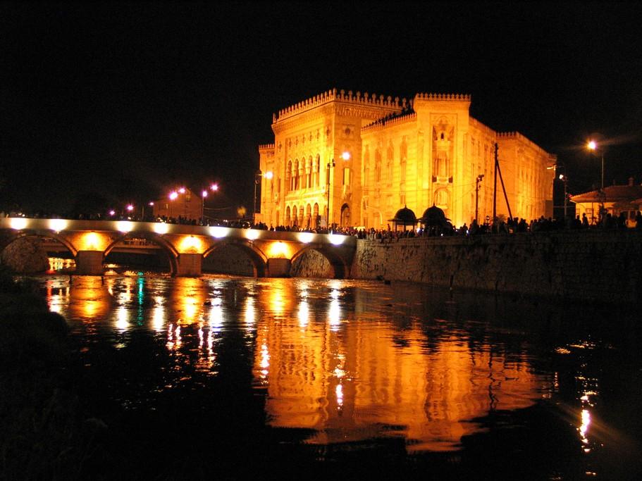 Sarajevo's City Hall lit up at night