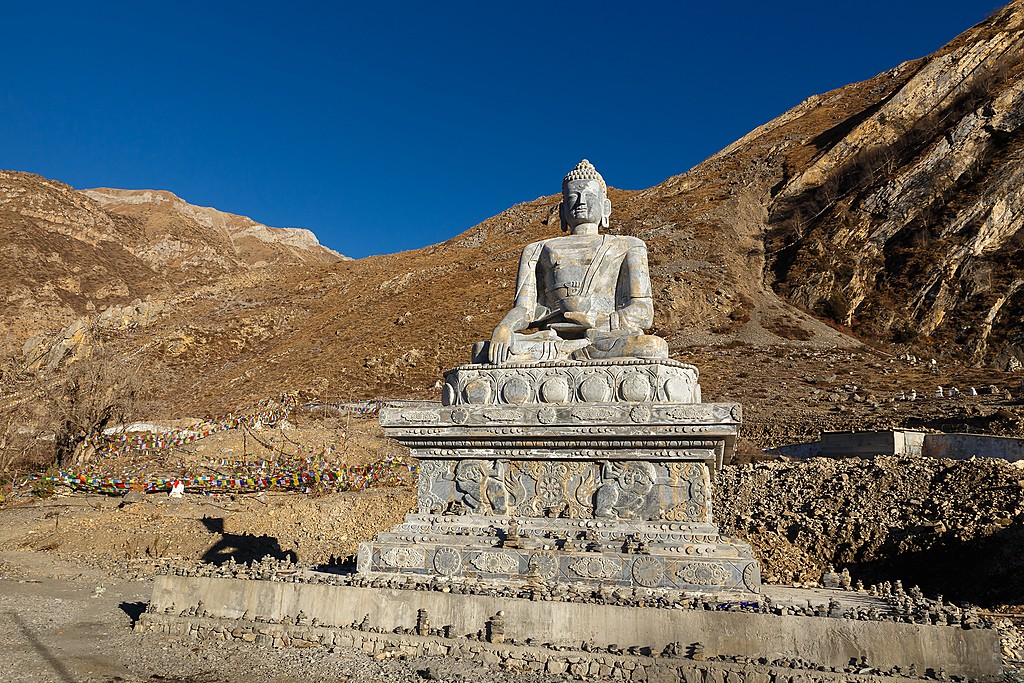 The Shakyamuni Buddha stone statue in Muktinath.
