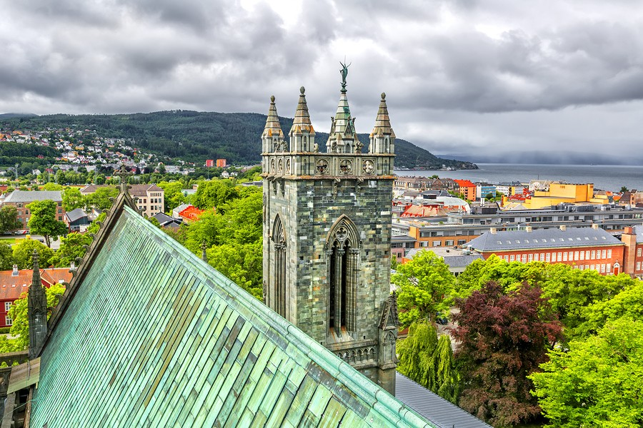 An overhead view of Trondheim's cathedral