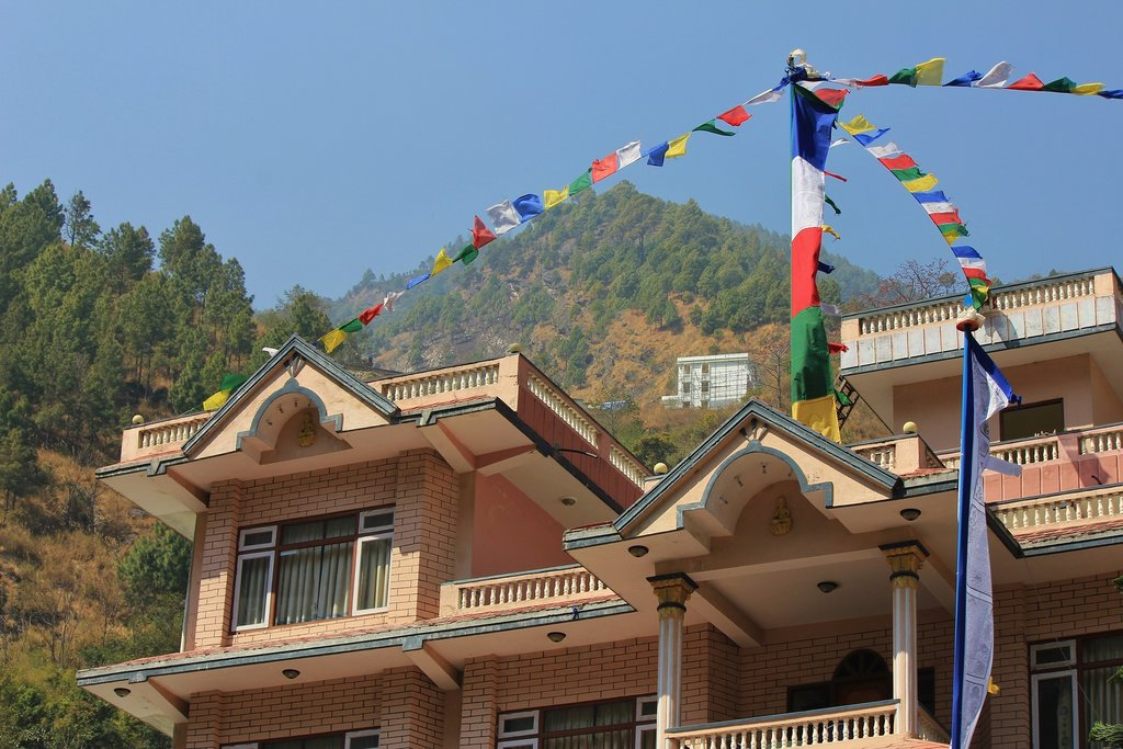 Colorful prayer flags in Syabru Besi