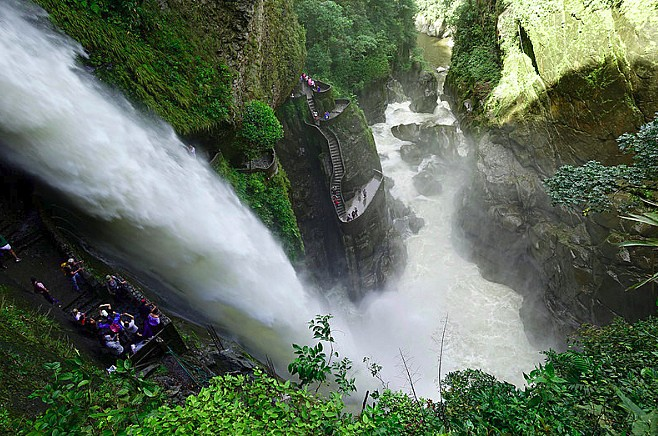 Scenic waterfall outside of Baños