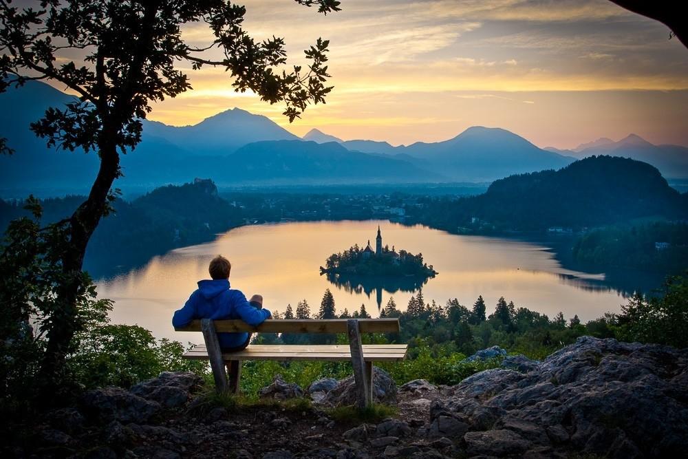 Sunset over Lake Bled