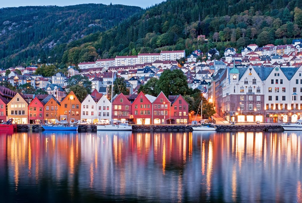 Bergen's colorful waterfront at dusk
