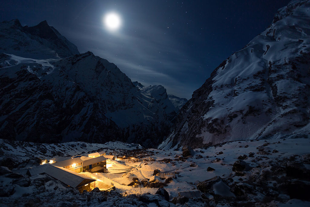 The moonlit Himalaya