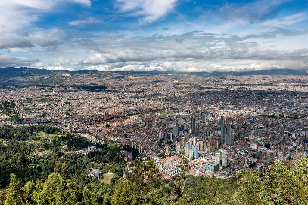 The view of Bogotá from atop Cerro Monserrate