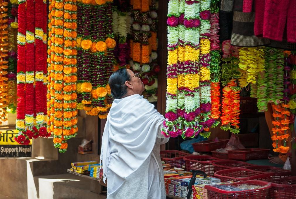 Lady shopping in colourful Kathmandu
