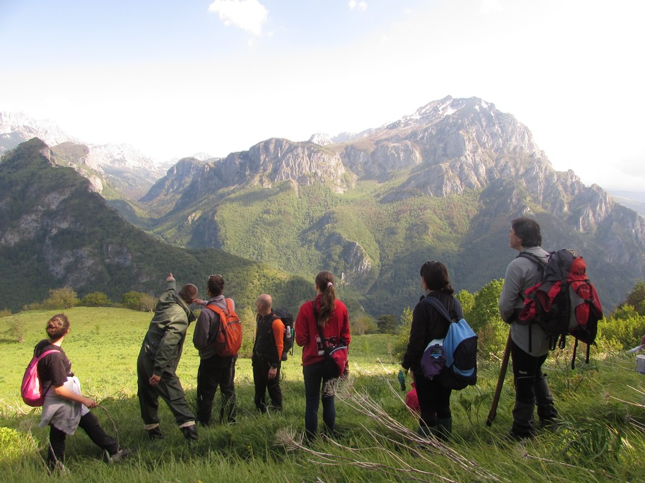 Hikers take in the verdant views of Sutjeska