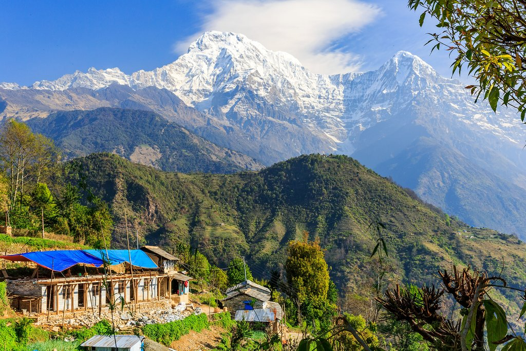 A morning view of the mountains from Ghandruk